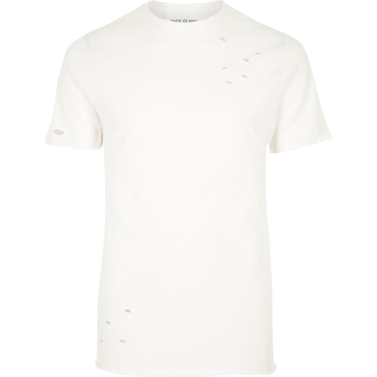 Cream distressed slim fit T-shirt