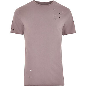 Pinkes Slim Fit Hemd im Used-Look