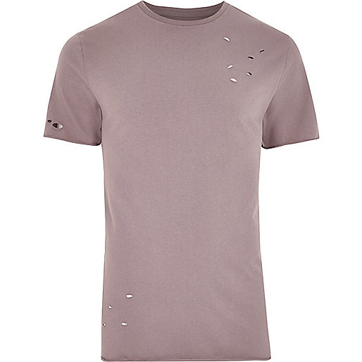 Pink distressed slim fit T-shirt