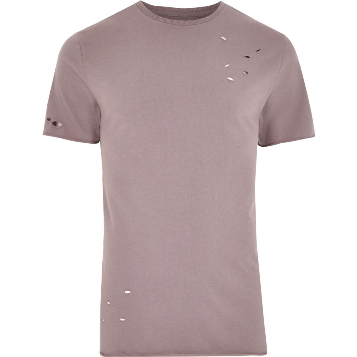 Pink distressed slim fit T-shirt
