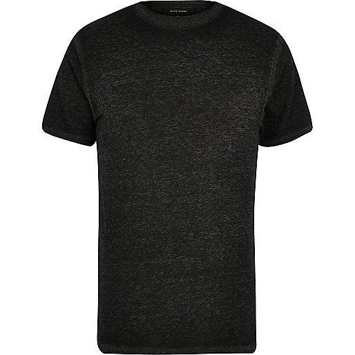 Dark grey burnout slim fit T-shirt