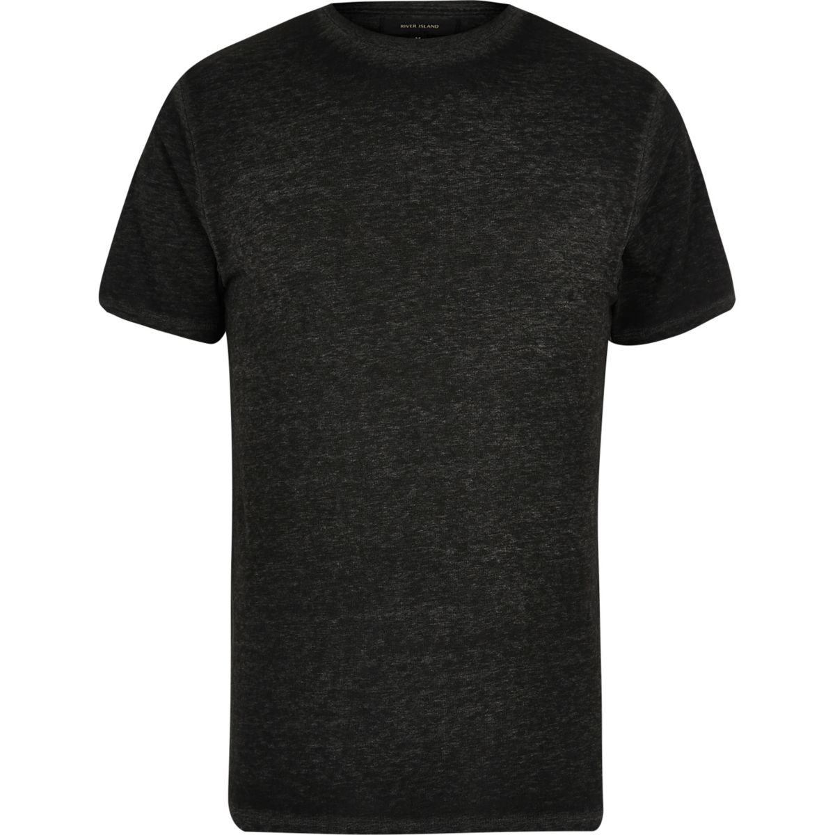 Dark grey burnout slim fit T-shirt