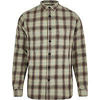 Green washed check long sleeve shirt