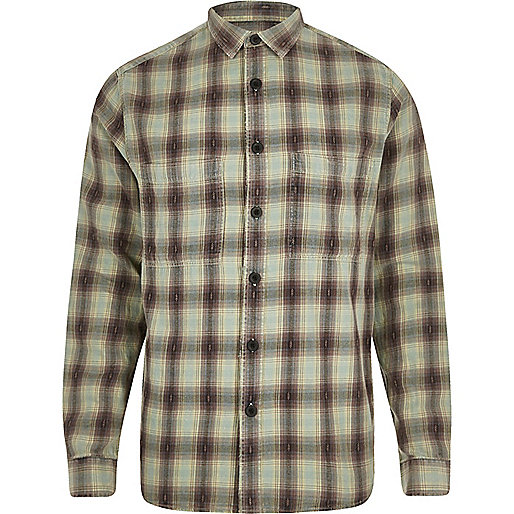 Green washed check long sleeve shirt