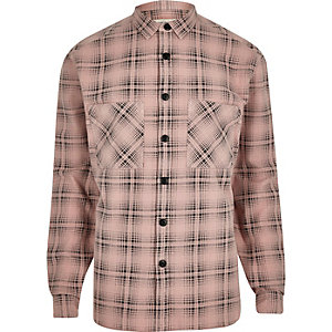 Pink washed check long sleeve shirt