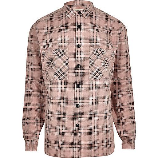 Pink washed check long sleeve shirt