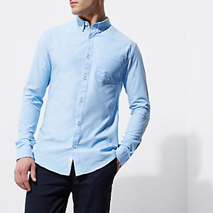 Light blue muscle fit Oxford shirt
