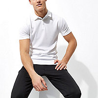 White waffle slim fit polo shirt