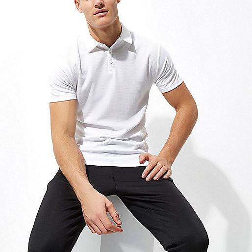 White waffle slim fit polo shirt