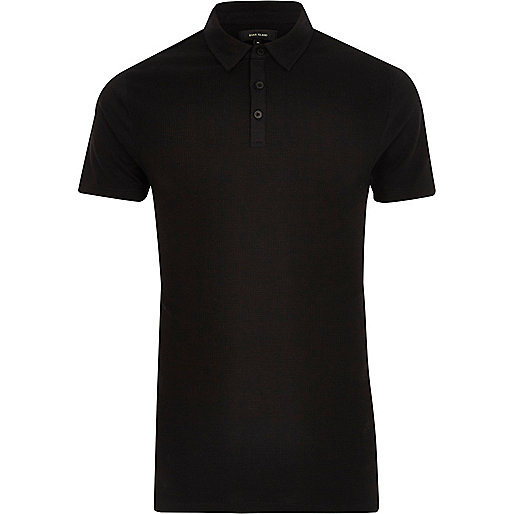 Black waffle slim fit polo shirt