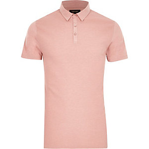 Pink waffle slim fit polo shirt