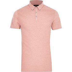 Polo coupe slim texturé rose