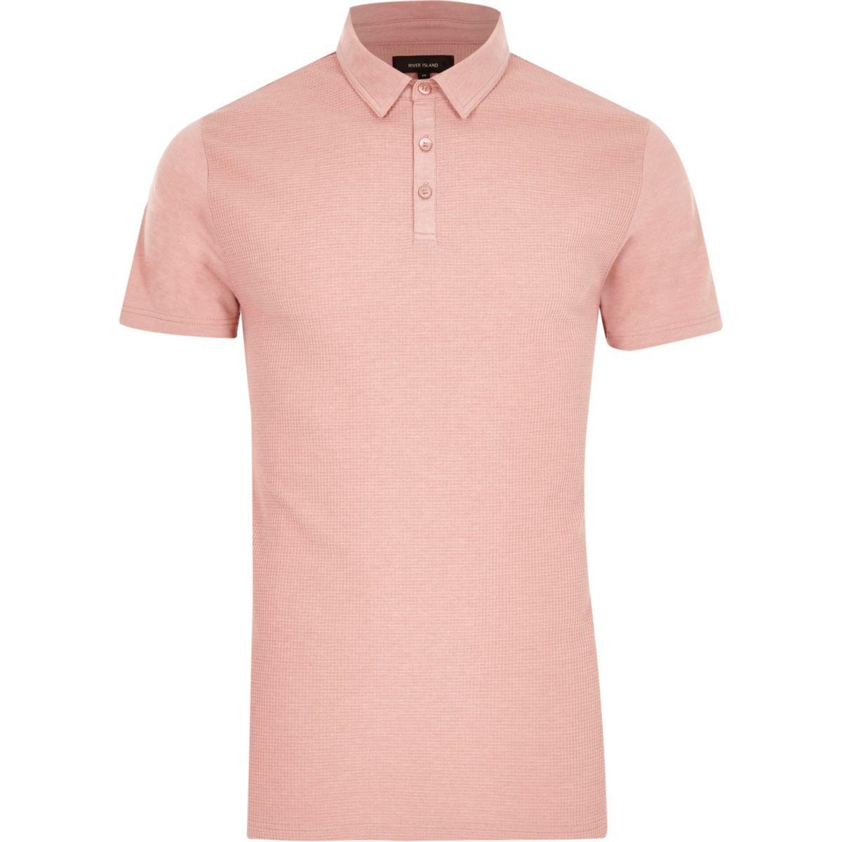 Pink waffle slim fit polo shirt