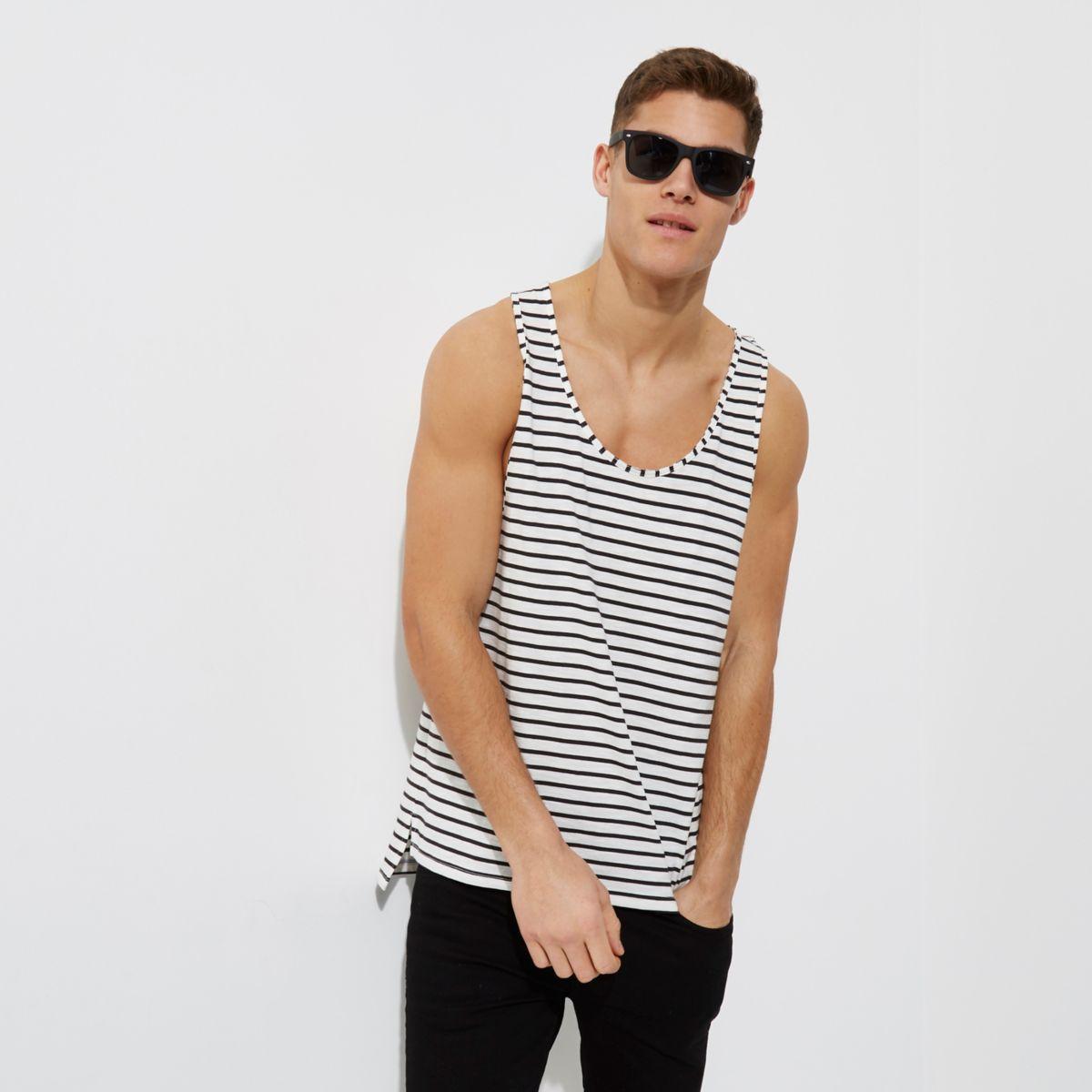 Cream stripe print casual vest