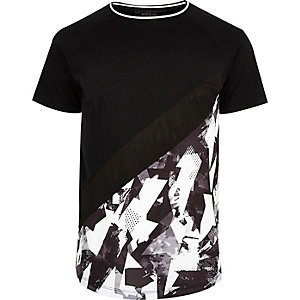 Black and white geo panel T-shirt