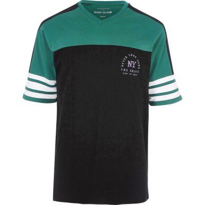 Zwart-groen sportief oversized T-shirt met NY'-print
