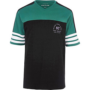 Black 'NY' print sporty oversized T-shirt