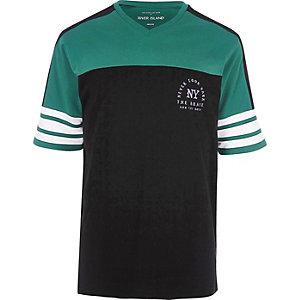 Zwart-groen sportief oversized T-shirt met 'NY'-print