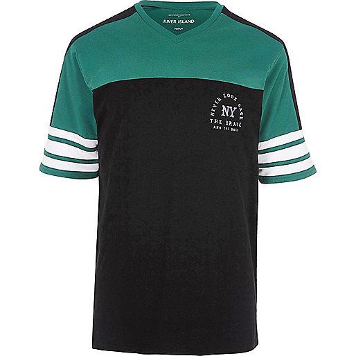 Black 'NY' print sporty oversized T-shirt