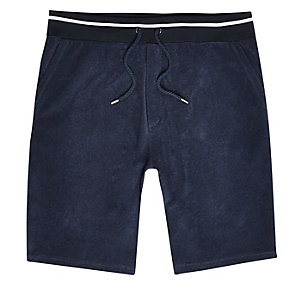 Navy towelling shorts