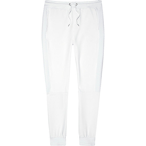 White textured panel joggers