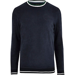 Marineblaues Sweatshirt mit Rundhalsausschnitt