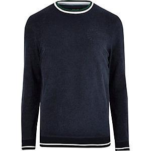 Navy towelling tipped crew neck sweatshirt