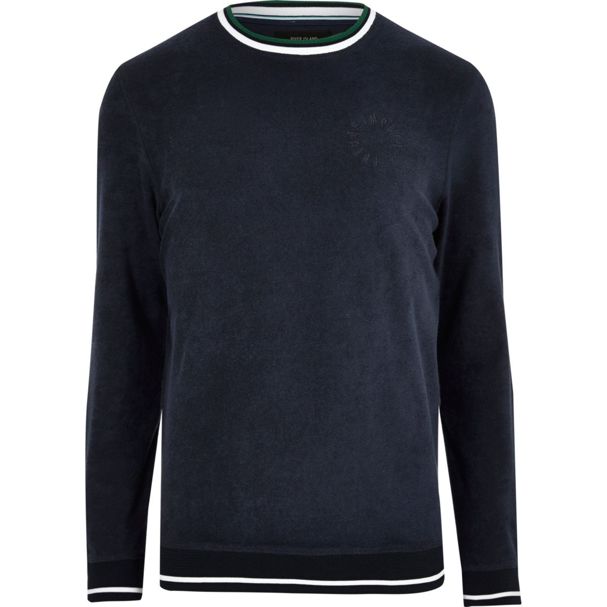 Navy towelling tipped crew neck sweatshirt