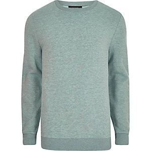 Hellgrünes, meliertes Sweatshirt mit Rundhalsausschnitt