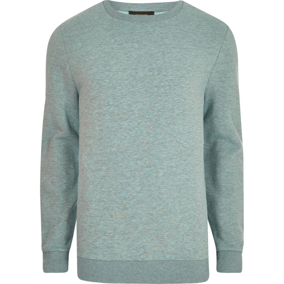 Light green marl crew neck sweatshirt
