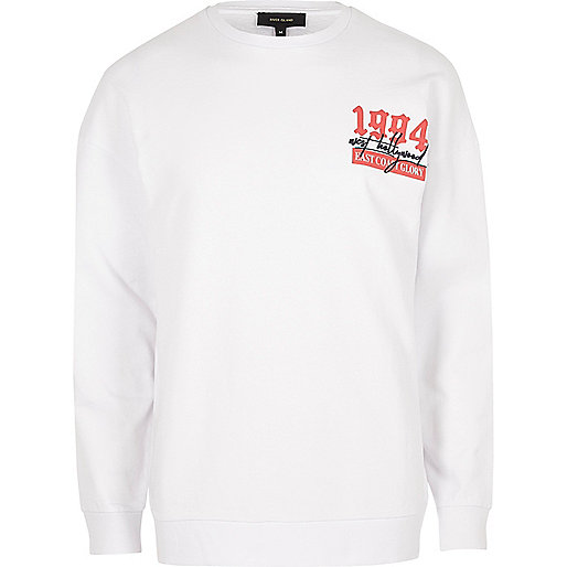 White '1994' print long sleeve sweatshirt