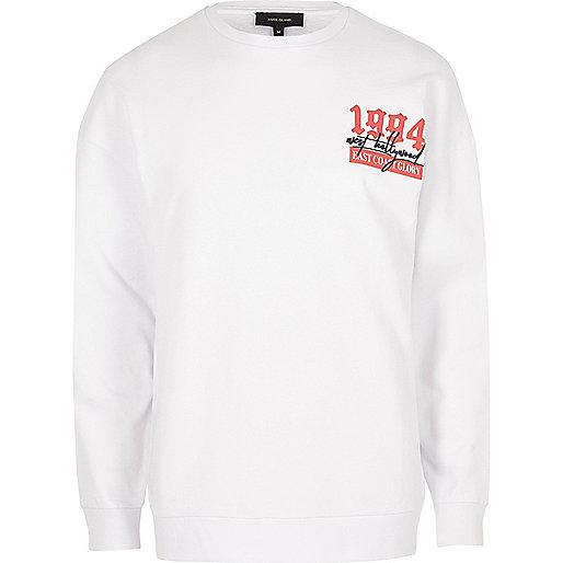 White '1994' print long sleeve sweatshirt