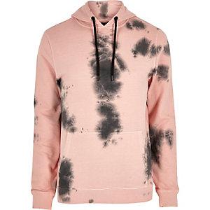 Sweat rose effet tie-dye à capuche