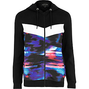 Black glitch print zip up hoodie