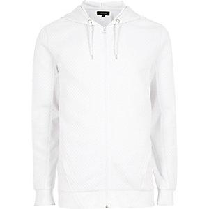 Sweat à capuche blanc texturé à manches longues zippé sur le devant