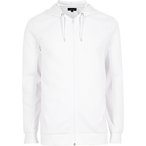 White textured zip front long sleeve hoodie