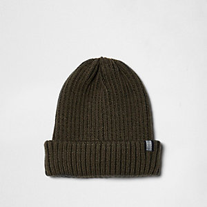 Khaki green ribbed fisherman hat