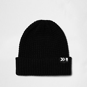 Black knit ribbed fisherman hat