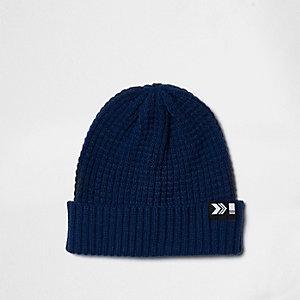 Blue knit ribbed fisherman hat