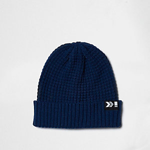Blue knit ribbed fisherman hat