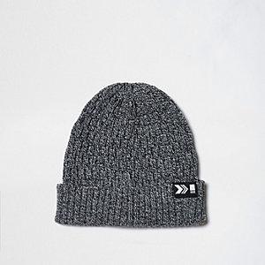 Grey chain knit ribbed fisherman hat