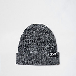 Grey chain knit ribbed fisherman hat