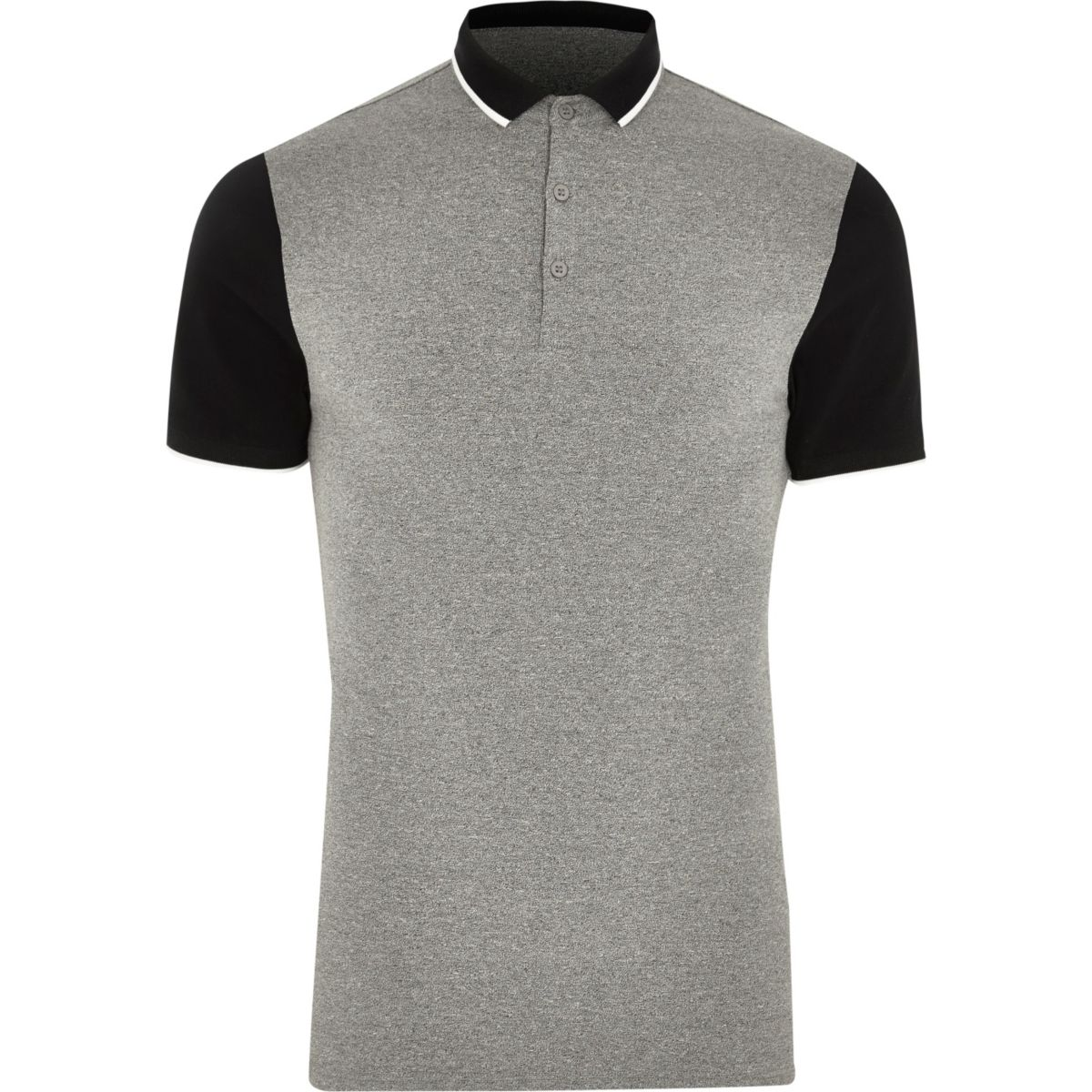 Grey contrast sleeve muscle fit polo shirt