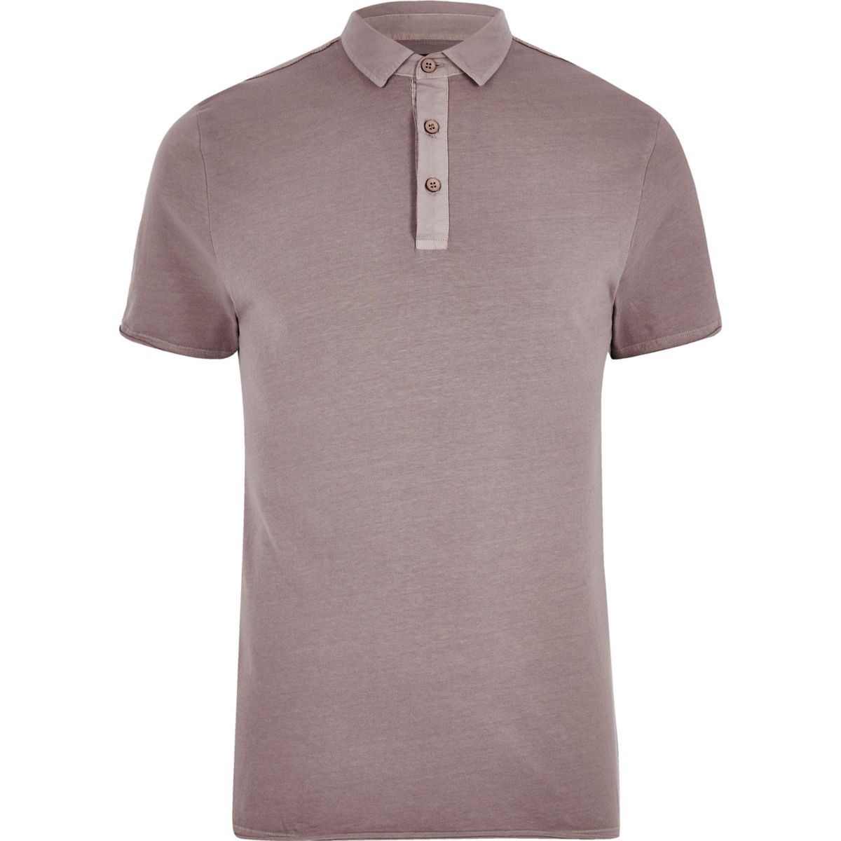 Pink washed slim fit polo shirt