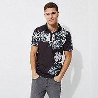 Black floral print slim fit polo shirt