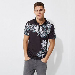 Black floral print slim fit polo shirt