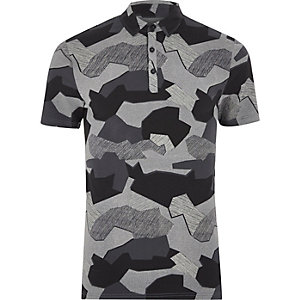 Schwarzes Muscle Fit Polohemd mit Camouflage-Muster