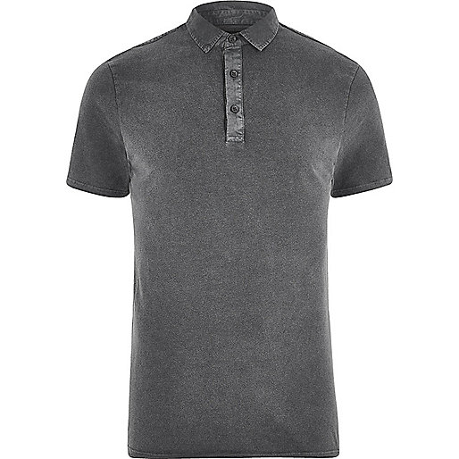 Black washed slim fit polo shirt