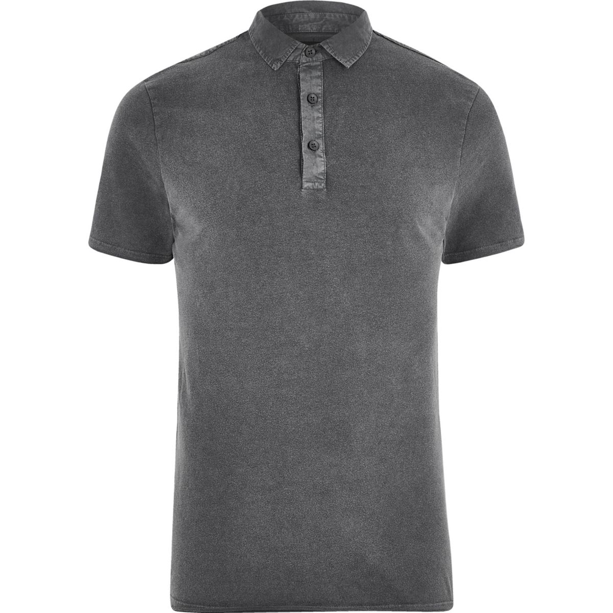 Black washed slim fit polo shirt