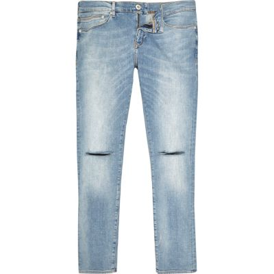 Danny Blauwe superskinny jeans met gescheurde knieën